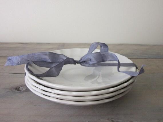 Small White China Swirl Plates Set of 4