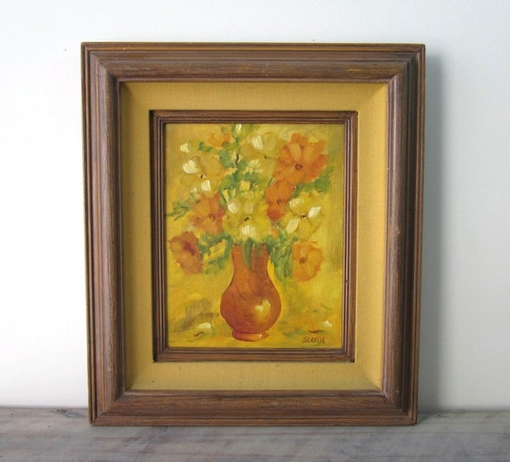 Vintage Oil Painting - Signed - Yellow Gold Orange Flowers in Vase with Gold Fabric Matte and Wood Frame