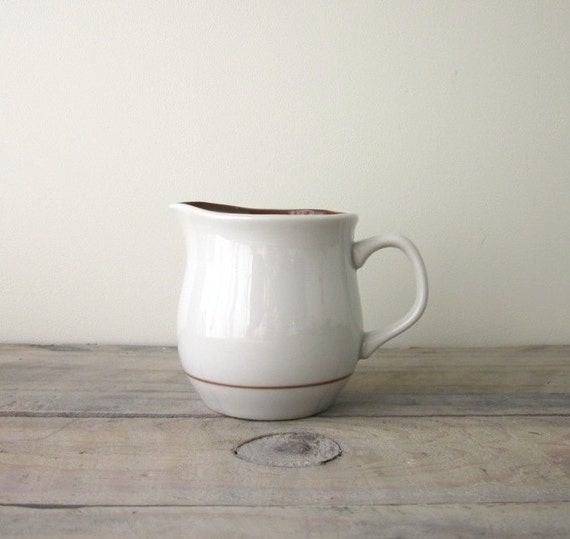 White and Brown Stoneware Creamer Pitcher RESERVED FOR TIA