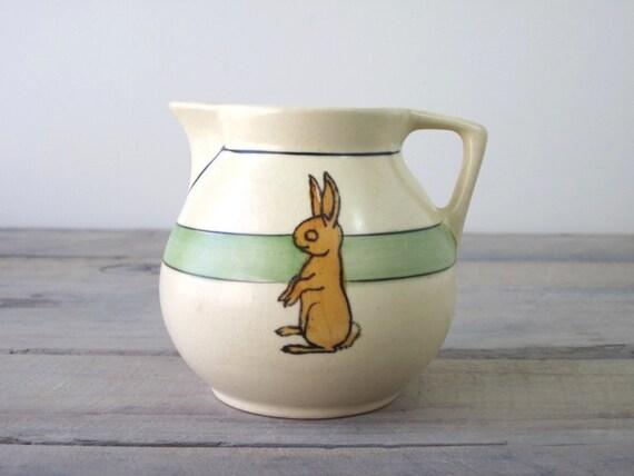 Vintage Roseville Juvenile Pottery Pitcher with Bunny Rabbit Design