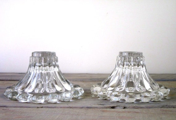 Pair of Depression Glass Candle Holders RESERVED FOR KIMBERLY