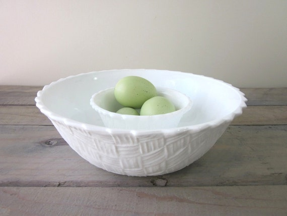 Milk Glass Chip and Dip Bowls Indiana Glass Basket Weave