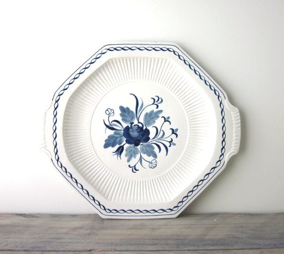 Blue and White Floral Ironstone Platter Adams