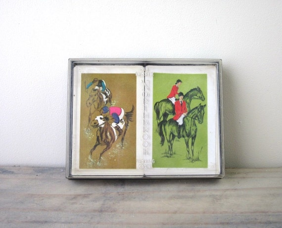 Vintage Playing Cards with Racing Horse Designs