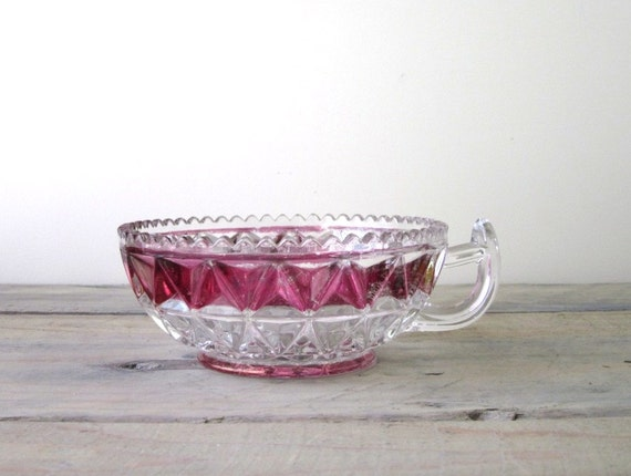 Ruby and Clear Crystal Sauce Server with Handle RESERVED FOR STELLA
