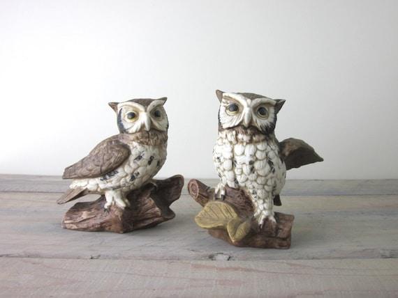 Pair of Vintage Owl Figurines