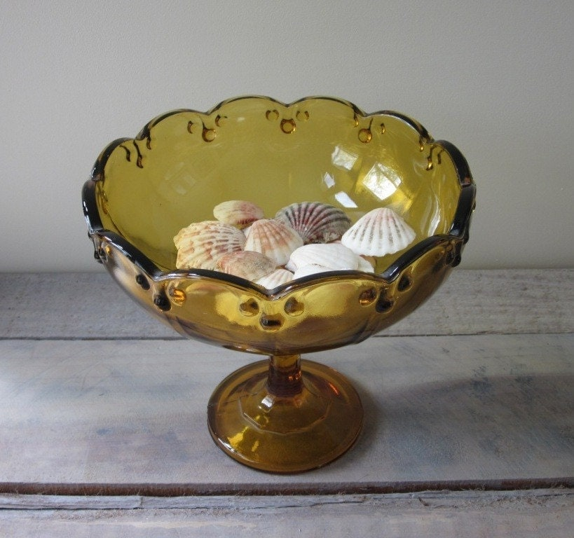 Amber glass footed bowl centerpiece - Footed bowl centerpiece ...
