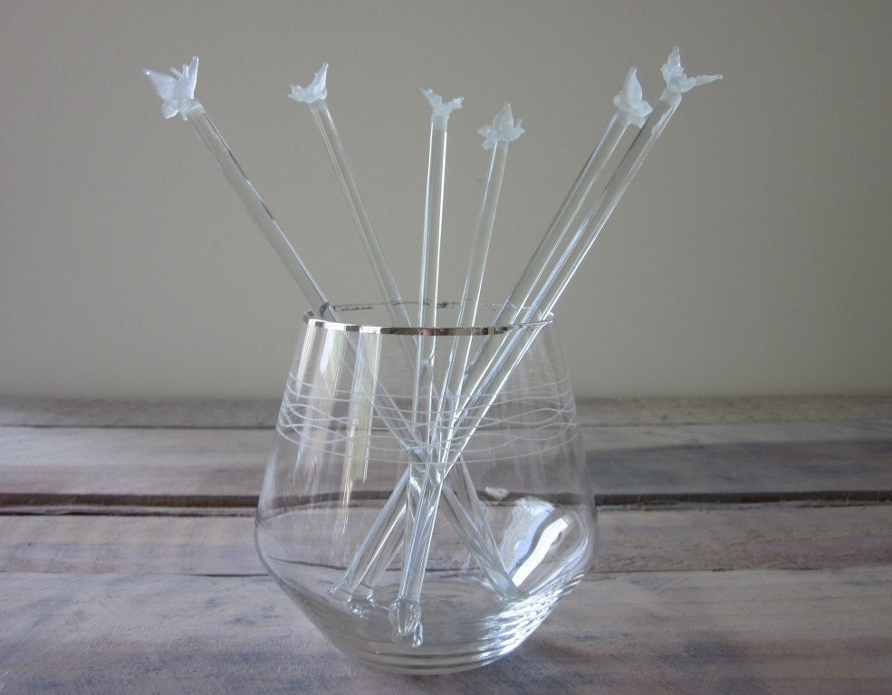 Vintage Glass Butterfly Swizzle Sticks Reserved For Suzie