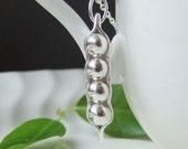 Pea Pod Necklace, Four Pea Silver Pendant, Hand crafted Fine Silver