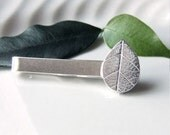 Silver Leaf Tie Bar, Sterling Silver Tear Drop Tie Slide