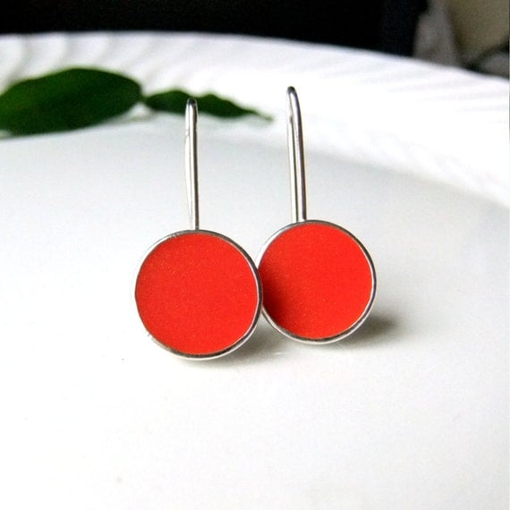 Orange Earrings Silver Resin Dangle Cup Earrings Blood Orange