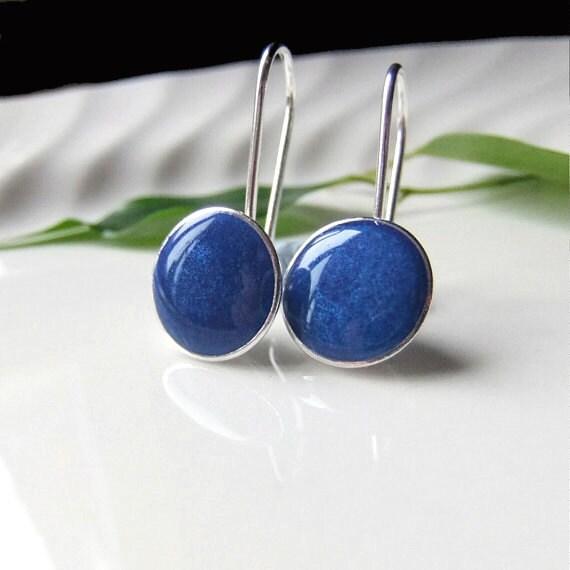 Blue Earrings, Silver Resin Dangly Cup Earrings