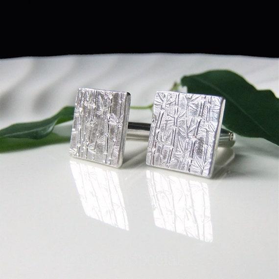 Silver Cuff links Square Bamboo Cufflinks