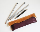 Raw N' Roll collection - mini leather pencil case in purple/brown