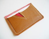 Raw N' Roll collection - leather card holder in bold red/ beige