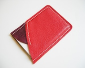 Raw N' Roll collection - leather card holder in bold red\/ dark purple