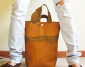 Raw N' Roll collection - leather tote in orange/ dark olive (S.A.L.E)