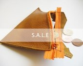 Raw N' Roll collection - leather coins bag in brown/orange (S.A.L.E)