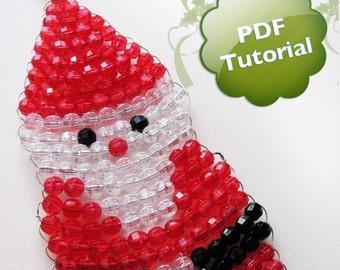DIY PDF Tutorial - Santa Claus, Beaded Christmas Ornament
