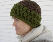 Green and Brown Beanie Hat