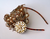 Gorgeous Feather Headband with Vintage Brooch