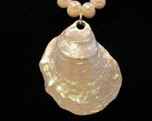 Oyster Shell Pearl Necklace - The World is Her Oyster - Beach Jewelry - Nautical Necklace
