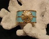 Gold and Turquoise Sand Dollar Nautical Bangle Bracelet - Summer Bracelet - Beach Jewelry