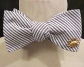 Navy Seersucker Bow tie with Gold Crab - Coastal Tie Collection - Bowtie