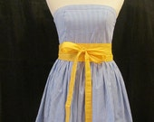 Blue & White Striped Sundress with Bright Yellow Wrap Belt