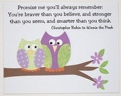 Kids Wall Art, Baby Girl Room Decor,Nursery Art, Owls, Winnie The Pooh Quote, Promise Me You'll Always Remember, 8x10 Print