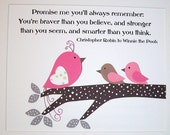 Children's Art Decor, Baby Girl Room Decor, Kids Wall Art, Bird,s Pink, Gray, Clara, Pooh Quote, Promise Me You'll Always Remember