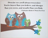 Kids Wall Art, Childrens Wall Art Decor, Boys Nursery Decor, Verse, Winnie The Pooh Quote, Promise Me You'll Always Remember- 3 Owls