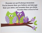 Kids Wall Art, Baby Girl Nursery Decor, Children's Room Decor, Owls, Verse, Promise Me You'll Always Remember, 8x10 Print