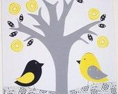 Kids Wall Art, Children's Room Art Decor, Nursery Decor, Birds, Tree, Flowers, Yellow, Gray, Let's Be Friends, 8x10 Print