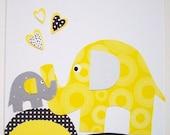 Nursery Art Print, Kids Wall Art, Nursery Decor, Elephant, Grey and Yellow Nursery, Verse, I'll Love You Forever, 8x10 Print