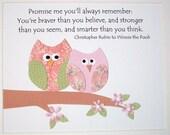 Owl Baby Girl Nursery  Decor, Kids Wall Art, Children's Art Decor, Pink, Tan, Green, Verse, Promise Me You'll Always Remember, 8x10 Print
