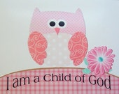 Baptism Gift, Nursery Art Decor, Kids Wall Art, Children's Art, Owl, Christian Art, I Am A Child Of God, 8x10 Print