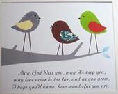Baptism Gift, Kids Wall Art, Nursery Decor, Baby Boy, Children's Art,  Owl, Bird, Gray, Blue, Little Boy's Prayer,  8x10 Art Print