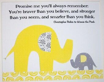 Yellow Gray Nursery Art, Kids Wall Art, Baby Boy Nursery, Baby Girl, Elephant, Promise Me You'll Always Remember, Print