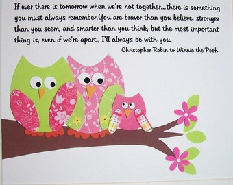 Baby Girl Nursery Decor, Baby Room Decor, Kids Wall Art, Owls, Children Art, Verse, Pink, Promise Me You'll Always Remember, 8x10 Print