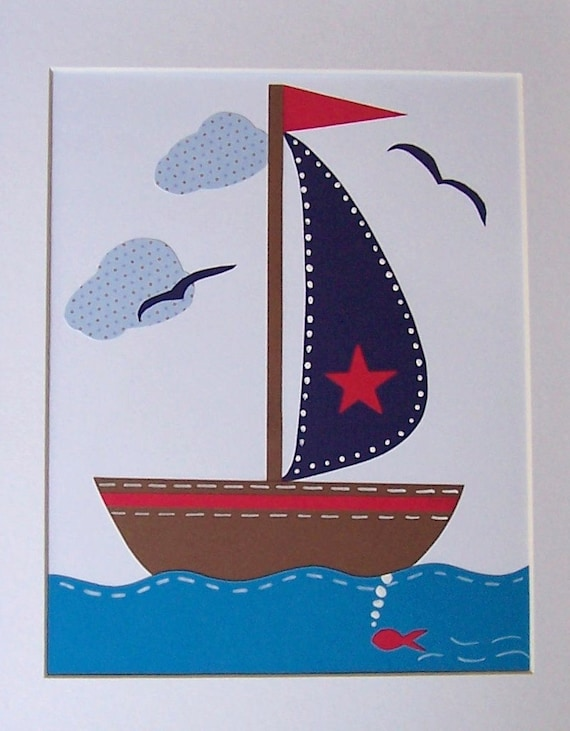 items similar to nursery art sailboat child room decor baby boy room decor beach home decor. Black Bedroom Furniture Sets. Home Design Ideas
