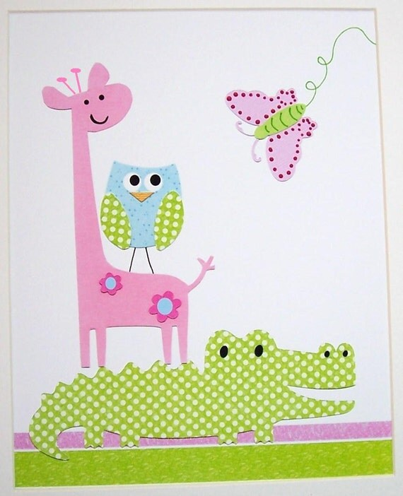 Items similar to kids wall art baby girl room decor kids room decor alligator owl giraffe - Girl owl decor ...