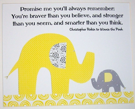 Yellow Gray Nursery Art, Kids Wall Art, Baby Boy Nursery, Baby Girl, Elephant, Promise Me You'll Always Remember, Print