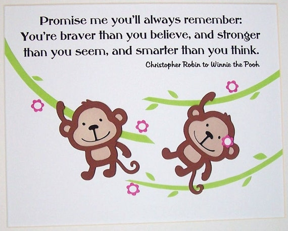 Monkey Nursery Decor, Kids Wall Art, Baby Room Decor, Children's Room Decor, Animals, Jungle, Promise Me You'll Always Remember, Print