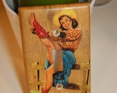 Gitty Up Pin-up Cowgirl Light Switchplate