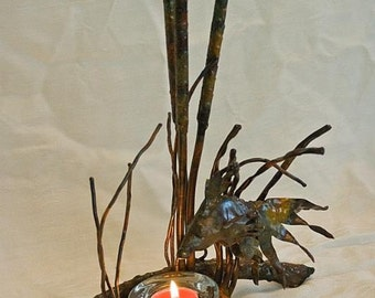 Copper Fish and Cattails Candle Light