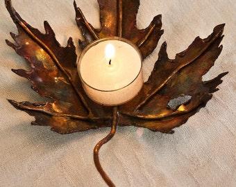 Copper Maple Leaf candle