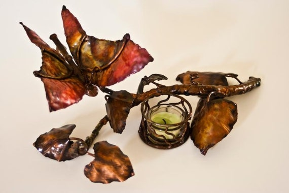 Copper Butterfly Candle