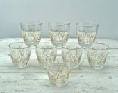 1960's Libbey Golden Wheat Glass Set of Eight