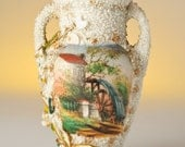 Tiny Old Mill Vase - Urn shaped Antique with Hand Painted Landscape